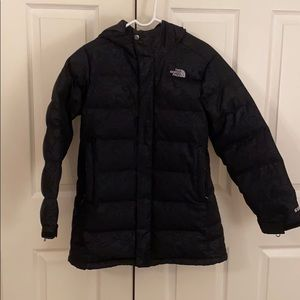 North Face kids black down jacket w/ lace pattern